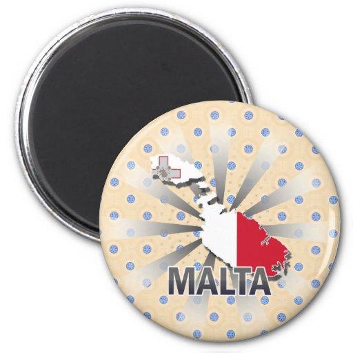 Mapa 2,0 de la bandera de Malta Imán Redondo 5 Cm