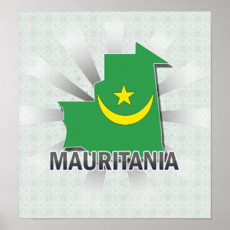 Mapa 2,0 de la bandera de Mauritania Poster