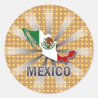 Mapa 2,0 de la bandera de México Pegatina Redonda