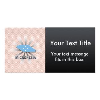 Mapa 2,0 de la bandera de Micronesia Tarjetas Fotográficas Personalizadas