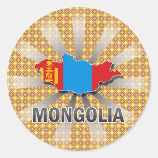 Mapa 2,0 de la bandera de Mongolia Pegatina Redonda