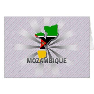 Mapa 2,0 de la bandera de Mozambique Tarjeta De Felicitación