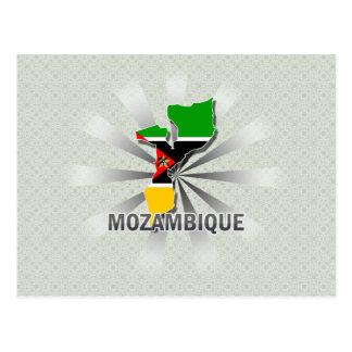 Mapa 2,0 de la bandera de Mozambique Tarjetas Postales