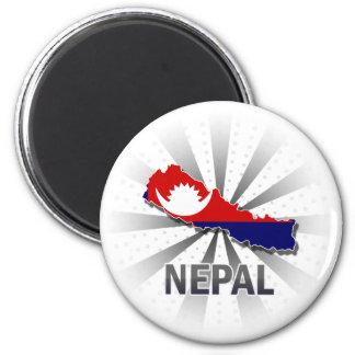 Mapa 2,0 de la bandera de Nepal Imán Redondo 5 Cm