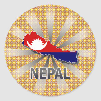 Mapa 2,0 de la bandera de Nepal Pegatina Redonda
