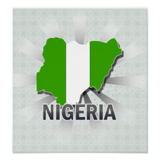 Mapa 2,0 de la bandera de Nigeria Póster