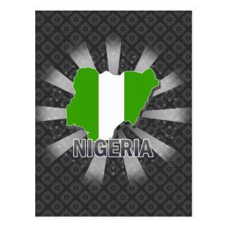 Mapa 2,0 de la bandera de Nigeria Tarjeta Postal