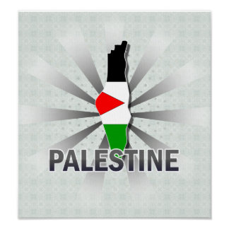 Mapa 2,0 de la bandera de Palestina Póster