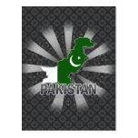 Mapa 2,0 de la bandera de Paquistán Tarjeta Postal