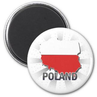 Mapa 2,0 de la bandera de Polonia Imán Redondo 5 Cm