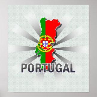 Mapa 2,0 de la bandera de Portugal Posters