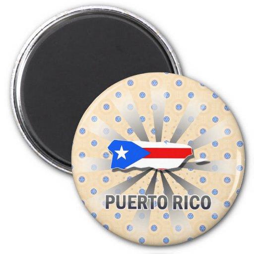 Mapa 2,0 de la bandera de Puerto Rico Imán Redondo 5 Cm