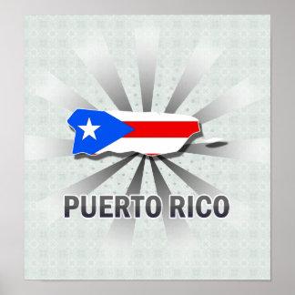 Mapa 2,0 de la bandera de Puerto Rico Impresiones