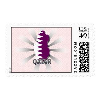 Mapa 2,0 de la bandera de Qatar Timbres Postales