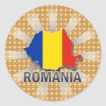 Mapa 2,0 de la bandera de Rumania Etiqueta Redonda