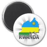 Mapa 2,0 de la bandera de Rwanda Imanes Para Frigoríficos
