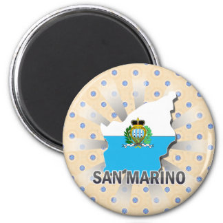 Mapa 2,0 de la bandera de San Marino Imán Redondo 5 Cm
