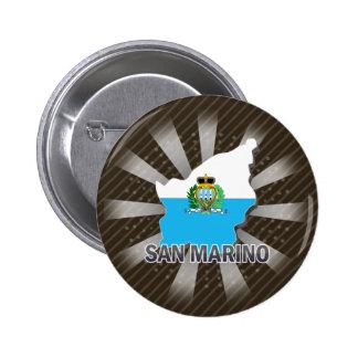 Mapa 2,0 de la bandera de San Marino Pin Redondo 5 Cm
