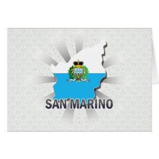 Mapa 2,0 de la bandera de San Marino Tarjeta De Felicitación