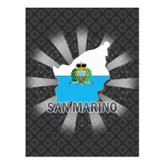 Mapa 2,0 de la bandera de San Marino Tarjetas Postales