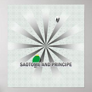 Mapa 2,0 de la bandera de Sao Tome and Principe Póster