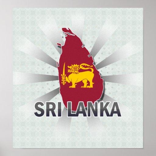 Mapa 2,0 de la bandera de Sri Lanka Impresiones