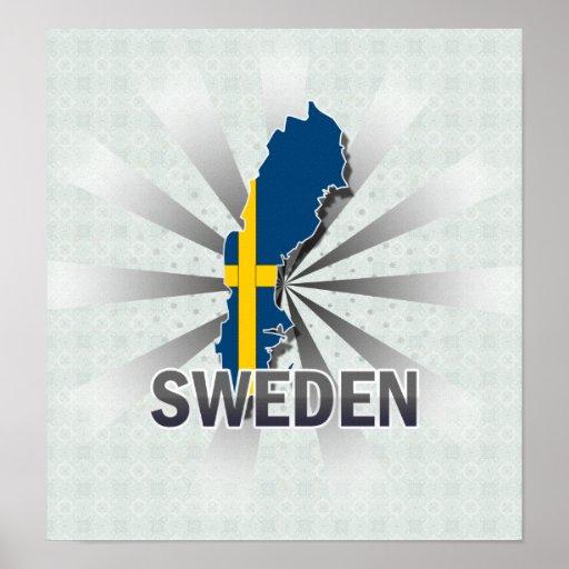 Mapa 2,0 de la bandera de Suecia Póster