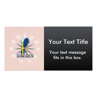 Mapa 2,0 de la bandera de Suecia Tarjeta Fotografica