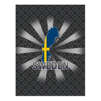 Mapa 2,0 de la bandera de Suecia Tarjetas Postales