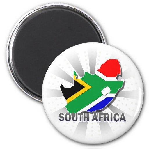 Mapa 2,0 de la bandera de Suráfrica Imán Redondo 5 Cm