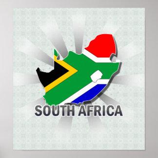 Mapa 2 0 de la bandera de Suráfrica Impresiones
