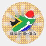 Mapa 2,0 de la bandera de Suráfrica Etiqueta Redonda