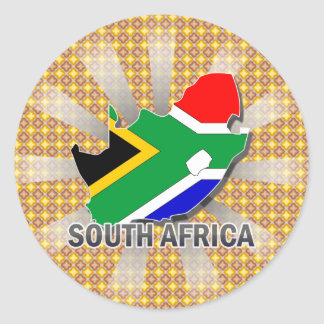 Mapa 2,0 de la bandera de Suráfrica Pegatina Redonda