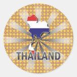 Mapa 2,0 de la bandera de Tailandia Pegatinas Redondas