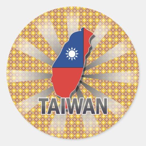 Mapa 2,0 de la bandera de Taiwán Etiqueta Redonda