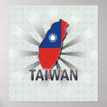 Mapa 2,0 de la bandera de Taiwán Posters