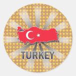 Mapa 2,0 de la bandera de Turquía Pegatina Redonda