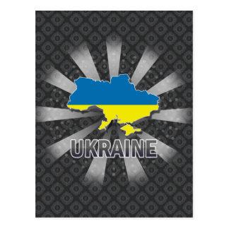 Mapa 2,0 de la bandera de Ucrania Tarjetas Postales