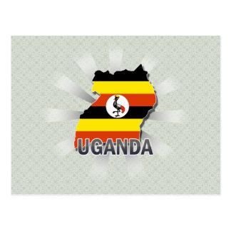 Mapa 2,0 de la bandera de Uganda Tarjetas Postales