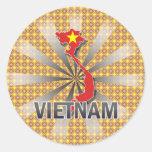 Mapa 2,0 de la bandera de Vietnam Pegatina Redonda