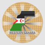 Mapa 2,0 de la bandera de Western Sahara Etiquetas Redondas