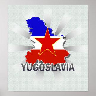 Mapa 2,0 de la bandera de Yugoslavia Póster