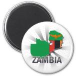 Mapa 2,0 de la bandera de Zambia Imán Para Frigorifico