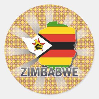 Mapa 2 0 de la bandera de Zimbabwe Etiquetas Redondas