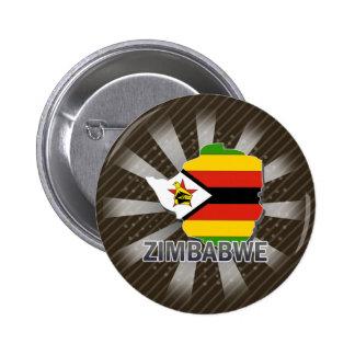 Mapa 2,0 de la bandera de Zimbabwe Pin Redondo De 2 Pulgadas