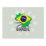 Mapa 2,0 de la bandera del Brasil Tarjeta Postal