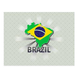 Mapa 2 0 de la bandera del Brasil Tarjeta Postal