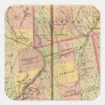 Mapa 2 de las tierras 3 de la madera calcomanías cuadradas