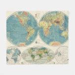 Mapa 2 del atlas del mundo manta de forro polar