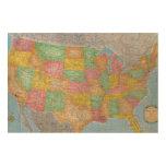 Mapa 3 de Estados Unidos Impresiones En Madera